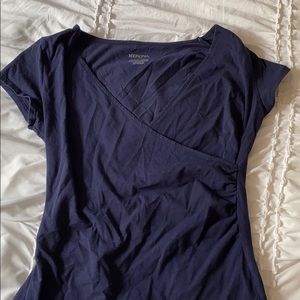 dark blue wrapped top